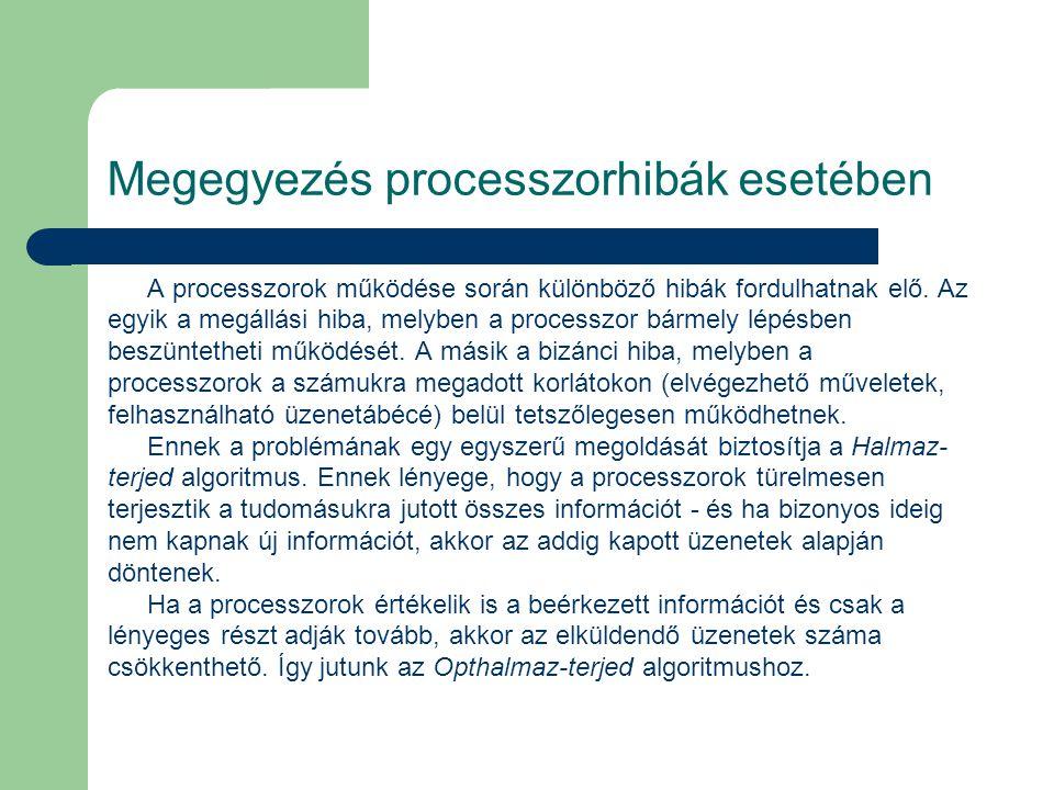 Megegyezés processzorhibák esetében A processzorok működése során különböző hibák fordulhatnak elő. Az egyik a megállási hiba, melyben a processzor bá