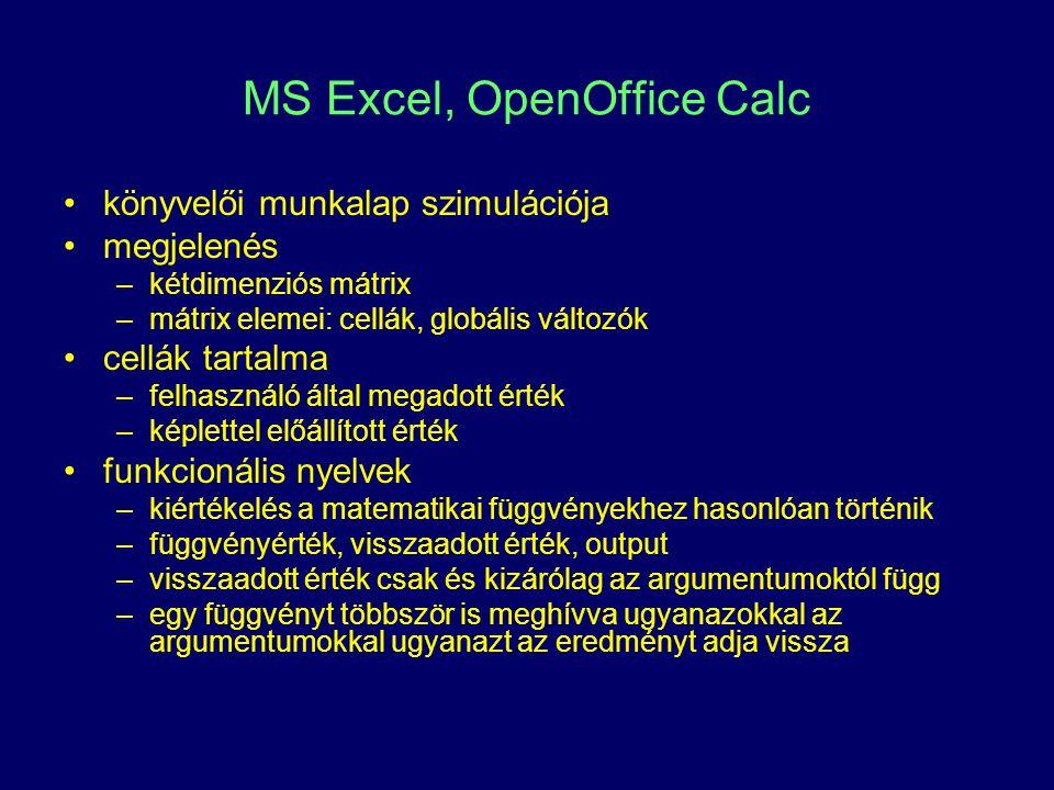 MS Excel, OpenOffice Calc könyvelői munkalap szimulációja megjelenés –kétdimenziós mátrix –mátrix elemei: cellák, globális változók cellák tartalma –felhasználó által megadott érték –képlettel előállított érték funkcionális nyelvek –kiértékelés a matematikai függvényekhez hasonlóan történik –függvényérték, visszaadott érték, output –visszaadott érték csak és kizárólag az argumentumoktól függ –egy függvényt többször is meghívva ugyanazokkal az argumentumokkal ugyanazt az eredményt adja vissza