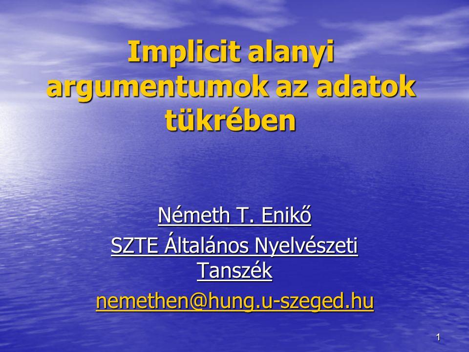 1 Implicit alanyi argumentumok az adatok tükrében Németh T. Enikő SZTE Általános Nyelvészeti Tanszék nemethen@hung.u-szeged.hu