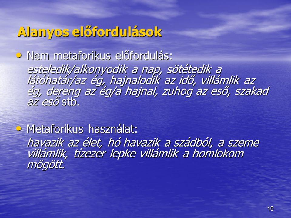 10 Alanyos előfordulások Nem metaforikus előfordulás: Nem metaforikus előfordulás: esteledik/alkonyodik a nap, sötétedik a látóhatár/az ég, hajnalodik az idő, villámlik az ég, dereng az ég/a hajnal, zuhog az eső, szakad az eső stb.