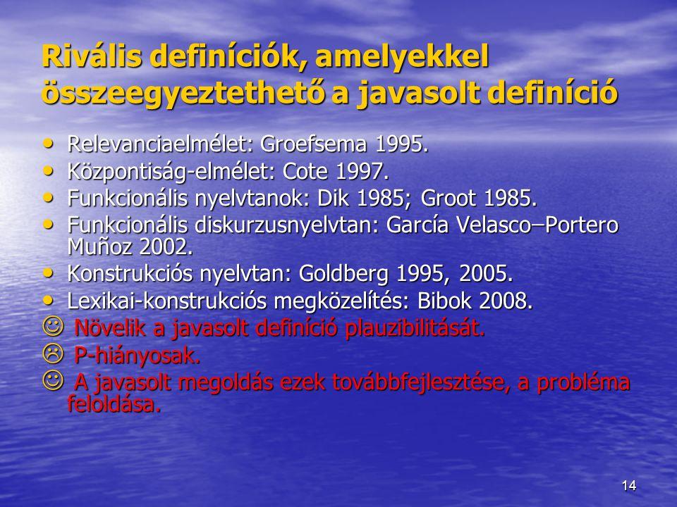 14 Rivális definíciók, amelyekkel összeegyeztethető a javasolt definíció Relevanciaelmélet: Groefsema 1995. Relevanciaelmélet: Groefsema 1995. Központ