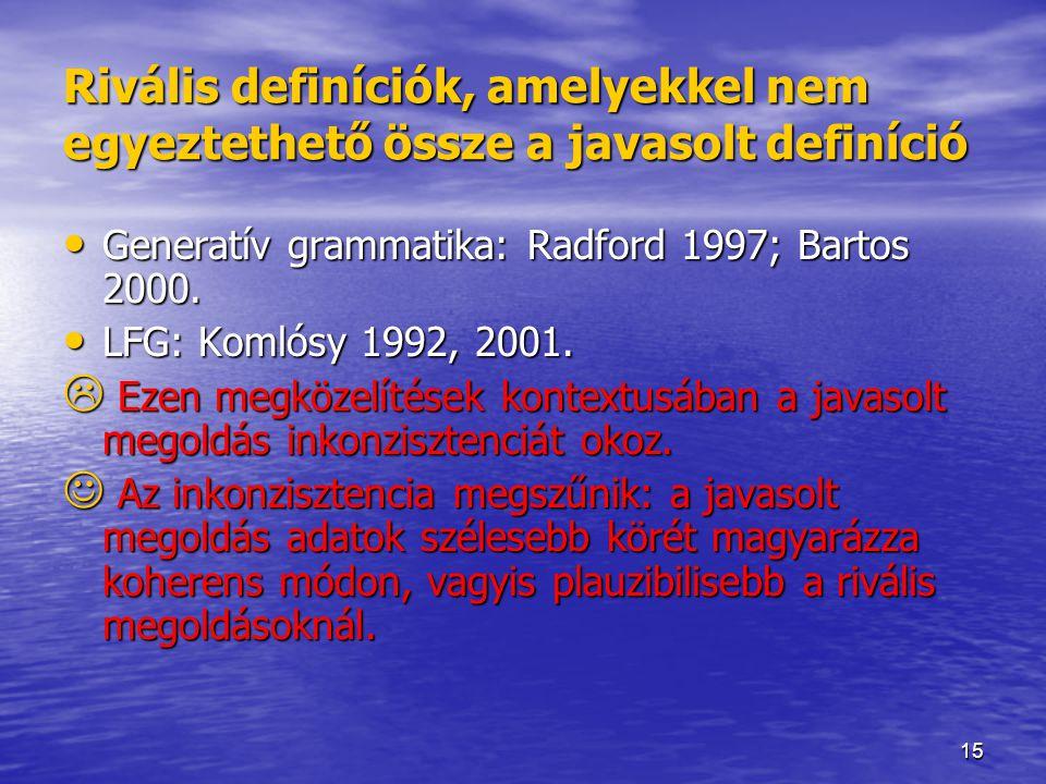 15 Rivális definíciók, amelyekkel nem egyeztethető össze a javasolt definíció Generatív grammatika: Radford 1997; Bartos 2000. Generatív grammatika: R