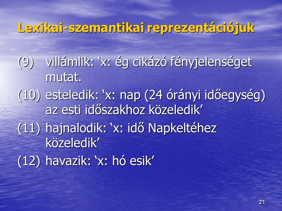21 Lexikai-szemantikai reprezentációjuk (9) villámlik: 'x: ég cikázó fényjelenséget mutat. (10)esteledik: 'x: nap (24 órányi időegység) az esti idősza