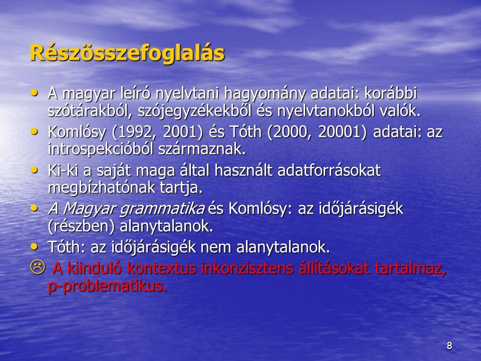 8 Részösszefoglalás A magyar leíró nyelvtani hagyomány adatai: korábbi szótárakból, szójegyzékekből és nyelvtanokból valók. A magyar leíró nyelvtani h