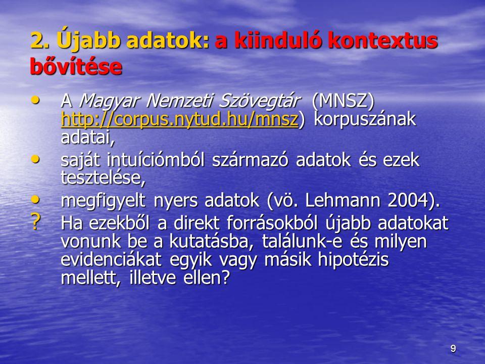 9 2. Újabb adatok: a kiinduló kontextus bővítése A Magyar Nemzeti Szövegtár (MNSZ) http://corpus.nytud.hu/mnsz) korpuszának adatai, A Magyar Nemzeti S