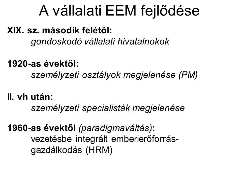 A vállalati EEM fejlődése XIX. sz.