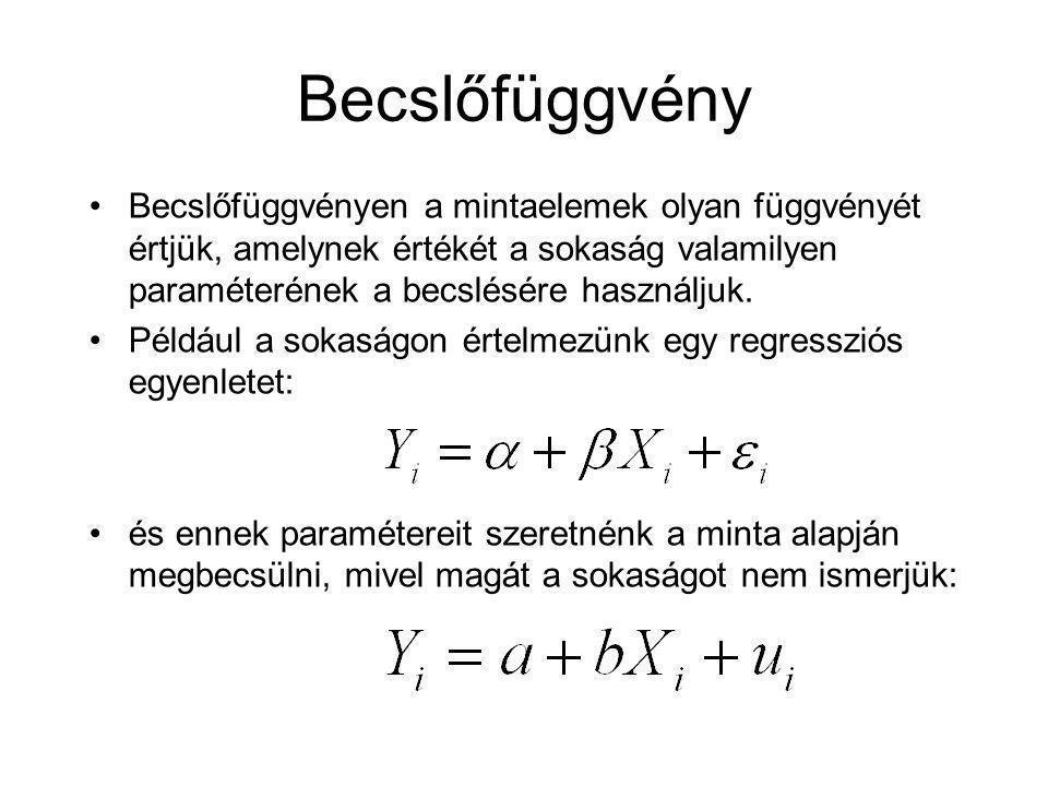 Becslőfüggvény Becslőfüggvényen a mintaelemek olyan függvényét értjük, amelynek értékét a sokaság valamilyen paraméterének a becslésére használjuk. Pé