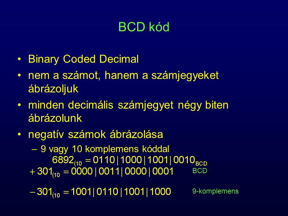 BCD kód Binary Coded Decimal nem a számot, hanem a számjegyeket ábrázoljuk minden decimális számjegyet négy biten ábrázolunk negatív számok ábrázolása