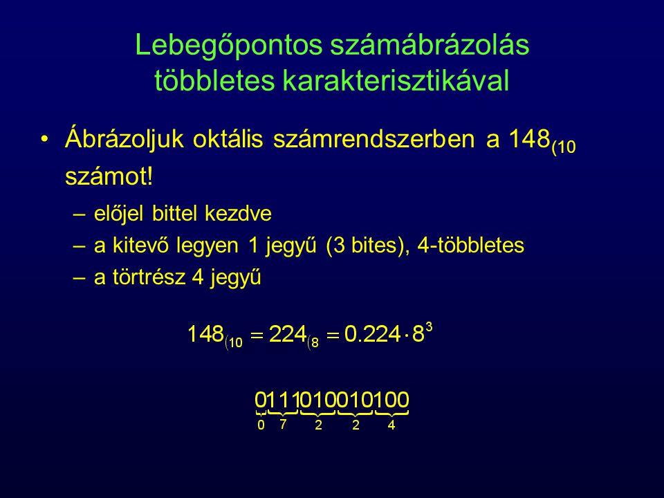 Lebegőpontos számábrázolás többletes karakterisztikával Ábrázoljuk oktális számrendszerben a 148 (10 számot! –előjel bittel kezdve –a kitevő legyen 1