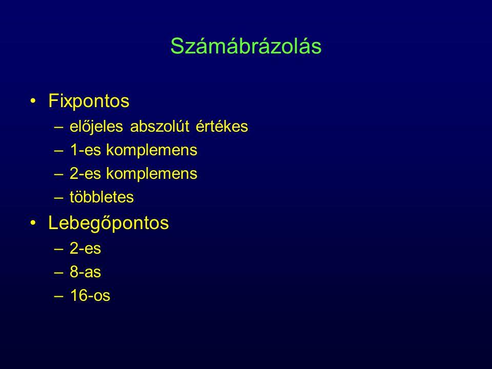 Számábrázolás Fixpontos –előjeles abszolút értékes –1-es komplemens –2-es komplemens –többletes Lebegőpontos –2-es –8-as –16-os