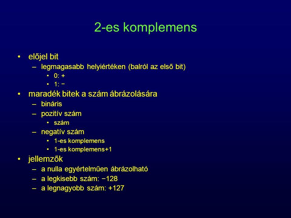 előjel bit –legmagasabb helyiértéken (balról az első bit) 0: + 1: − maradék bitek a szám ábrázolására –bináris –pozitív szám szám –negatív szám 1-es k