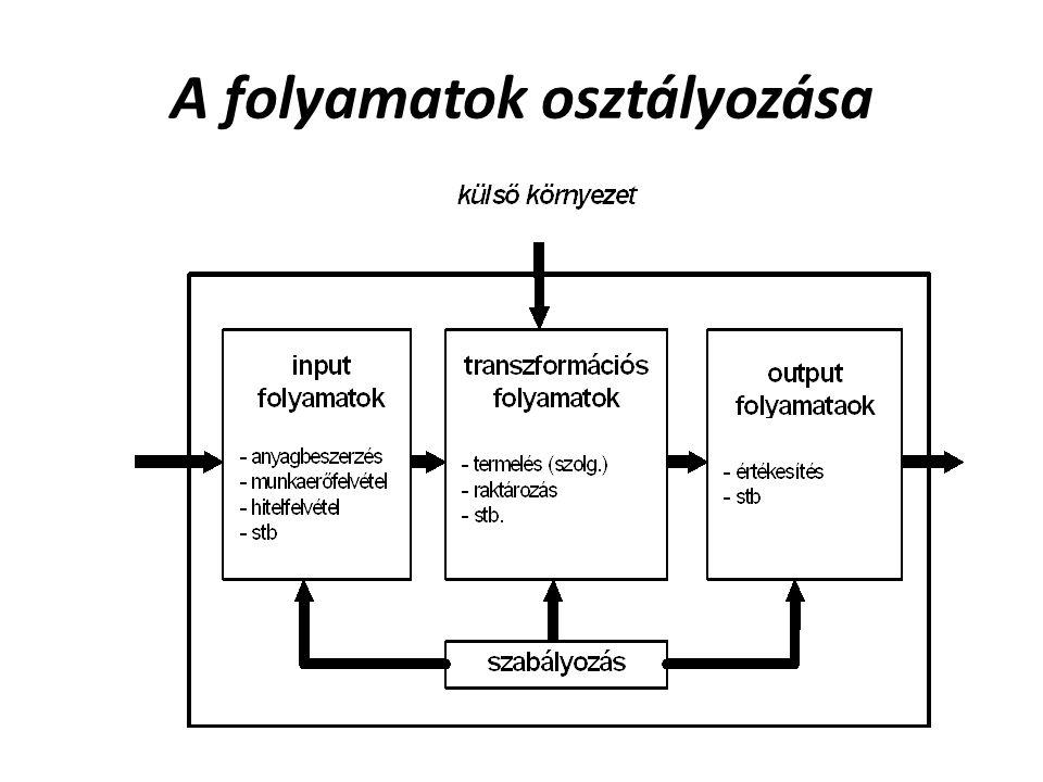 A szervezeten belüli folyamatok leggyakoribb osztályozása, elkülönítése a folyamatok funkcionális területek szerinti értelmezése alapján szokásos: értékesítés, fejlesztés, beszerzés, termelés, minőségszabályozás, infrastrukturális folyamatok.