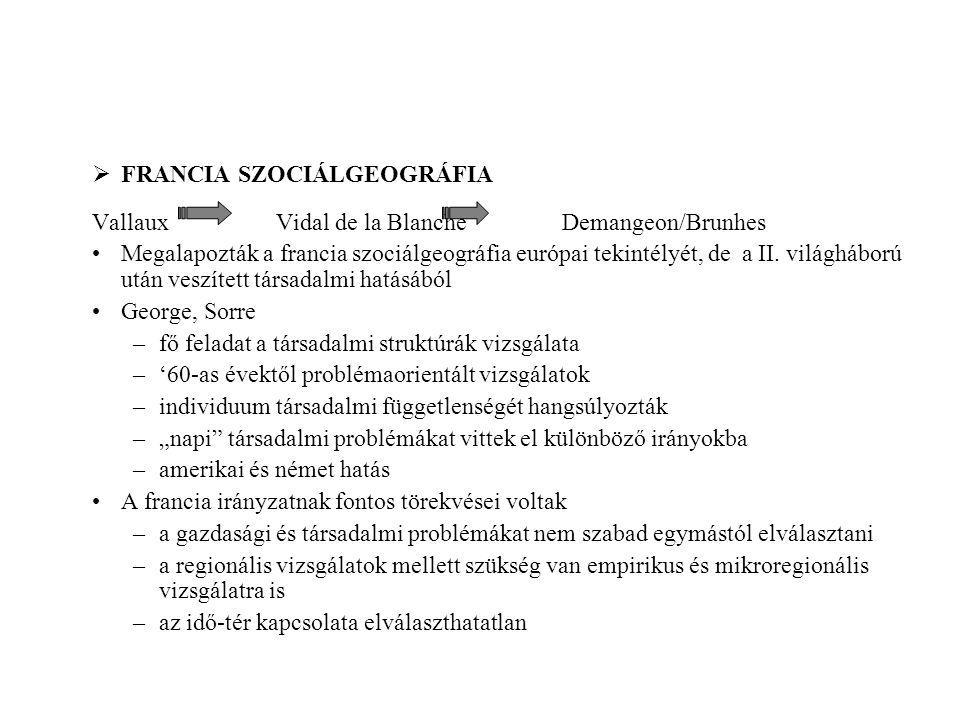  FRANCIA SZOCIÁLGEOGRÁFIA Vallaux Vidal de la Blanche Demangeon/Brunhes Megalapozták a francia szociálgeográfia európai tekintélyét, de a II. világhá