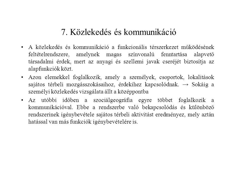 7. Közlekedés és kommunikáció A közlekedés és kommunikáció a funkcionális térszerkezet működésének feltételrendszere, amelynek magas színvonalú fennta