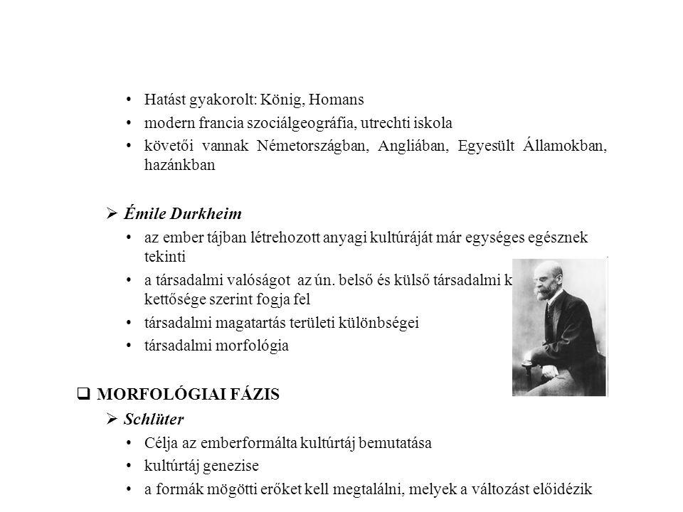Hatást gyakorolt: König, Homans modern francia szociálgeográfia, utrechti iskola követői vannak Németországban, Angliában, Egyesült Államokban, hazánk
