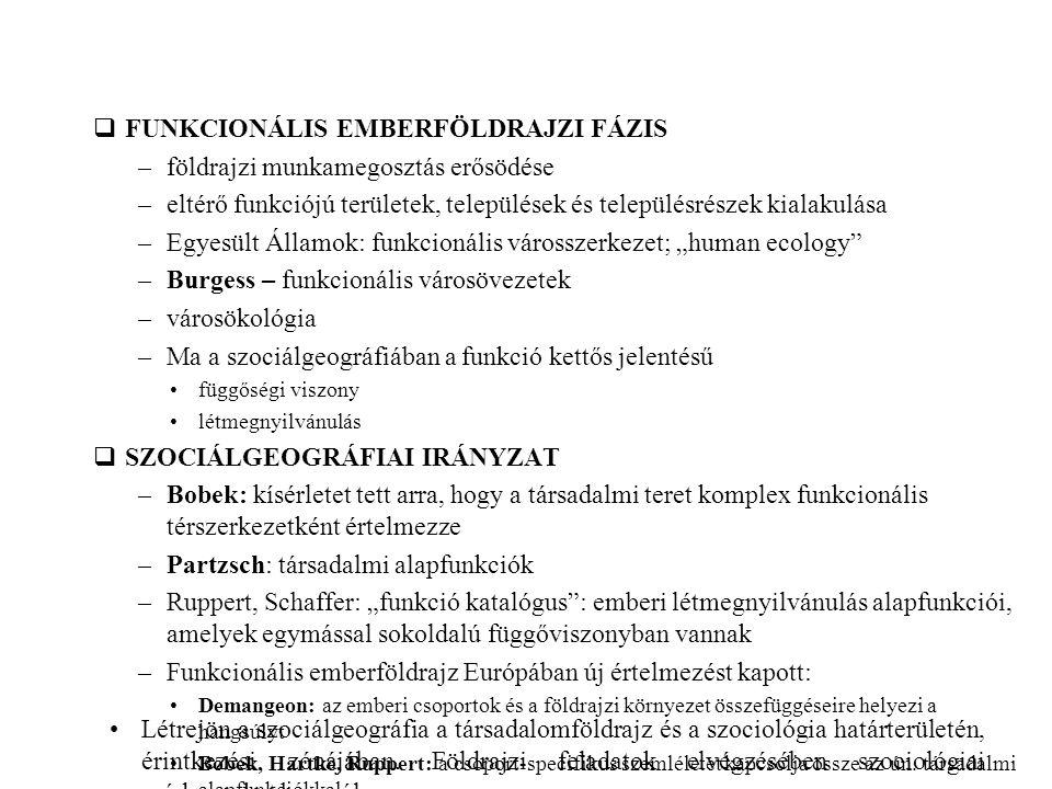 –Jagielski Wroclaw vizsgálatát végezte el –a lengyel, illetve a szocialista városok mozaikos szerkezetűek –Hazai: Süli-Zakar I, faluföldrajz szociálgeográfiai alapon (pl.