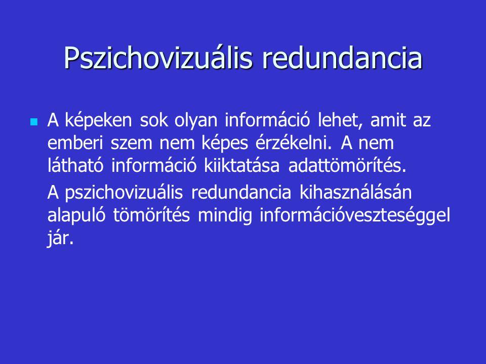 Pszichovizuális redundancia A képeken sok olyan információ lehet, amit az emberi szem nem képes érzékelni. A nem látható információ kiiktatása adattöm