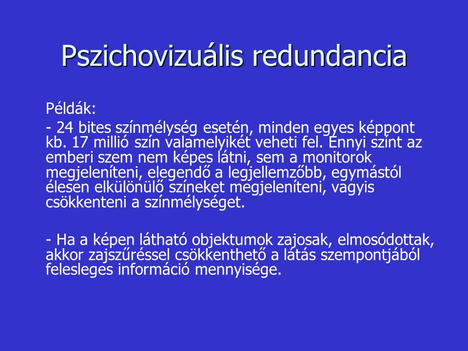 Pszichovizuális redundancia Példák: - 24 bites színmélység esetén, minden egyes képpont kb. 17 millió szín valamelyikét veheti fel. Ennyi színt az emb