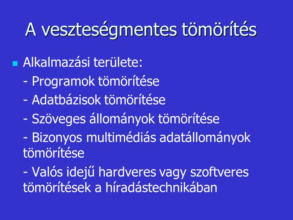 A veszteségmentes tömörítés Alkalmazási területe: - Programok tömörítése - Adatbázisok tömörítése - Szöveges állományok tömörítése - Bizonyos multiméd