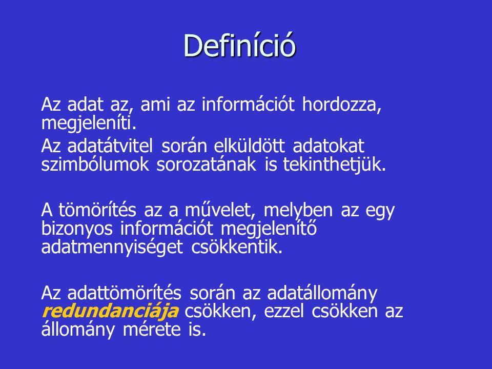 Definíció Az adat az, ami az információt hordozza, megjeleníti. Az adatátvitel során elküldött adatokat szimbólumok sorozatának is tekinthetjük. A töm