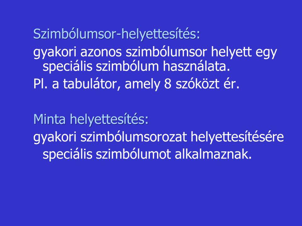 Szimbólumsor-helyettesítés: gyakori azonos szimbólumsor helyett egy speciális szimbólum használata. Pl. a tabulátor, amely 8 szóközt ér. Minta helyett