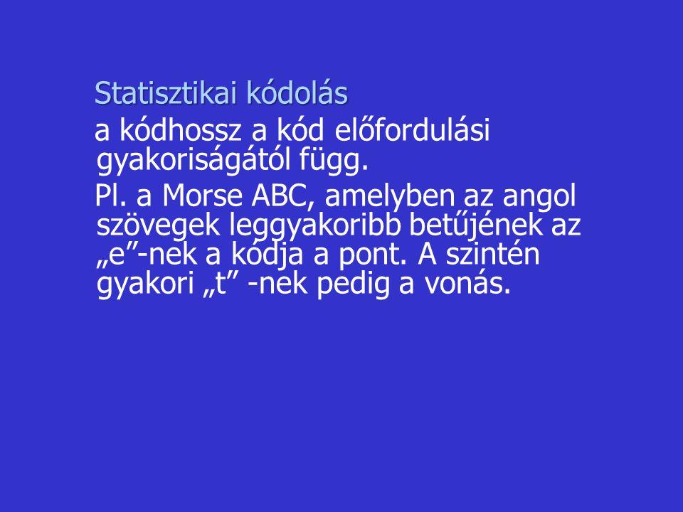 Statisztikai kódolás Statisztikai kódolás a kódhossz a kód előfordulási gyakoriságától függ. Pl. a Morse ABC, amelyben az angol szövegek leggyakoribb