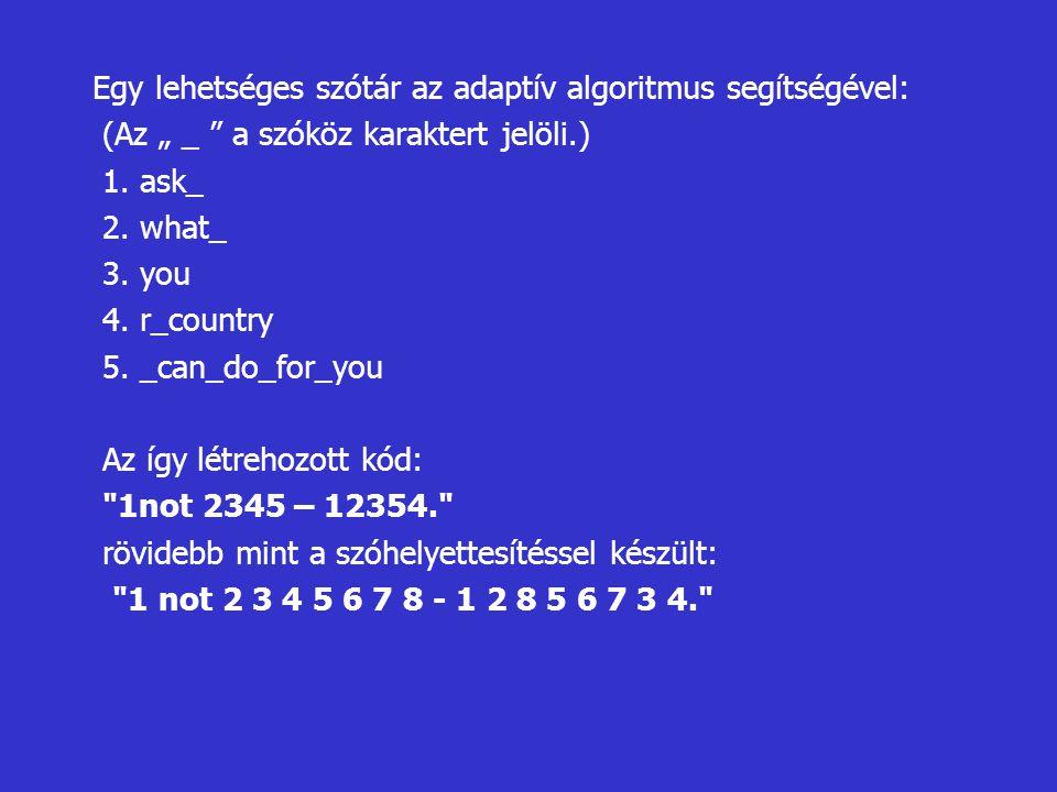 """Egy lehetséges szótár az adaptív algoritmus segítségével: (Az """" _ """" a szóköz karaktert jelöli.) 1. ask_ 2. what_ 3. you 4. r_country 5. _can_do_for_yo"""