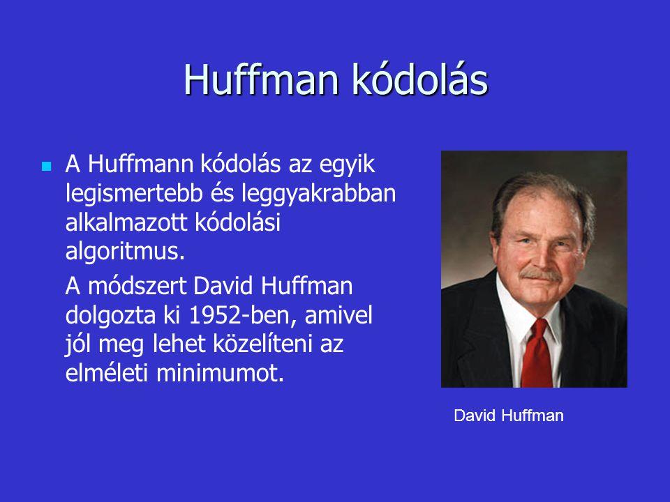 Huffman kódolás A Huffmann kódolás az egyik legismertebb és leggyakrabban alkalmazott kódolási algoritmus. A módszert David Huffman dolgozta ki 1952-b