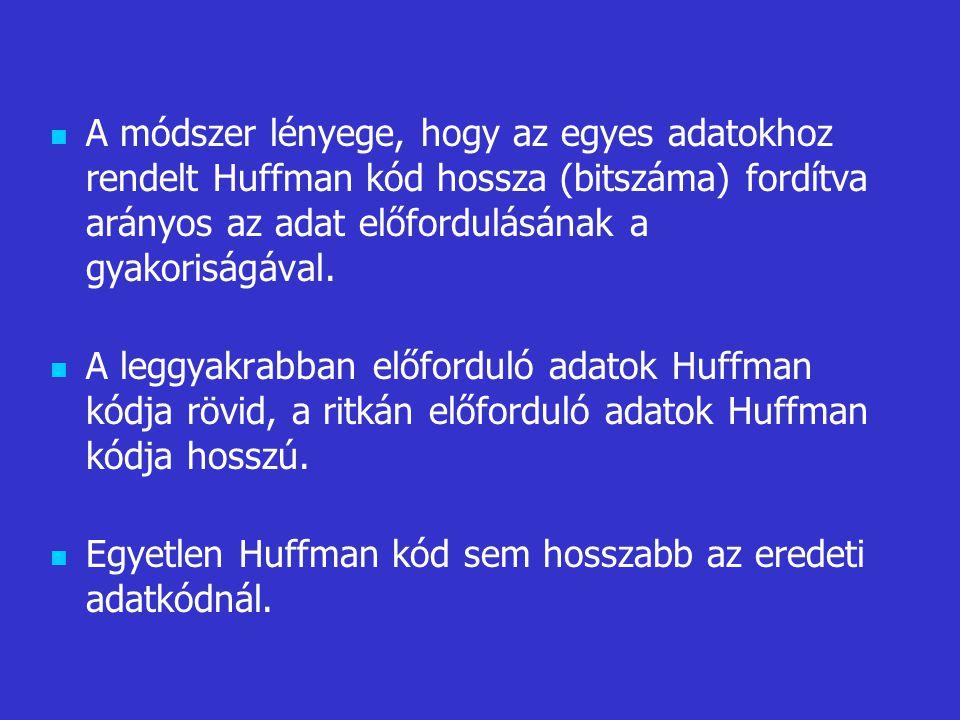 A módszer lényege, hogy az egyes adatokhoz rendelt Huffman kód hossza (bitszáma) fordítva arányos az adat előfordulásának a gyakoriságával. A leggyakr