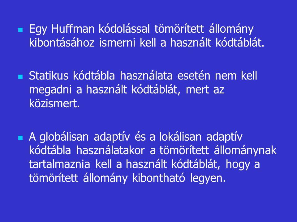 Egy Huffman kódolással tömörített állomány kibontásához ismerni kell a használt kódtáblát. Statikus kódtábla használata esetén nem kell megadni a hasz