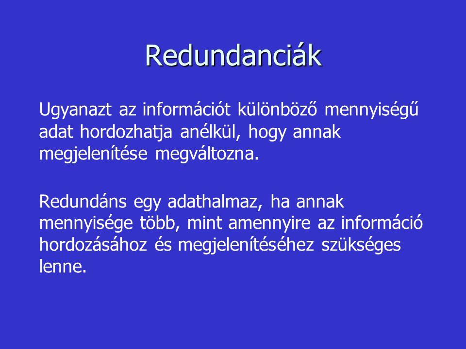 Redundanciák - Az adathalmazok szerkezetével kapcsolatos redundancia információfüggetlen, mivel ez nem befolyásolja az információ megjelenítését.