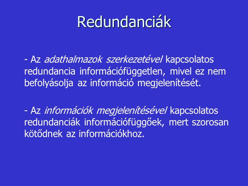 Redundanciák - Az adathalmazok szerkezetével kapcsolatos redundancia információfüggetlen, mivel ez nem befolyásolja az információ megjelenítését. - Az