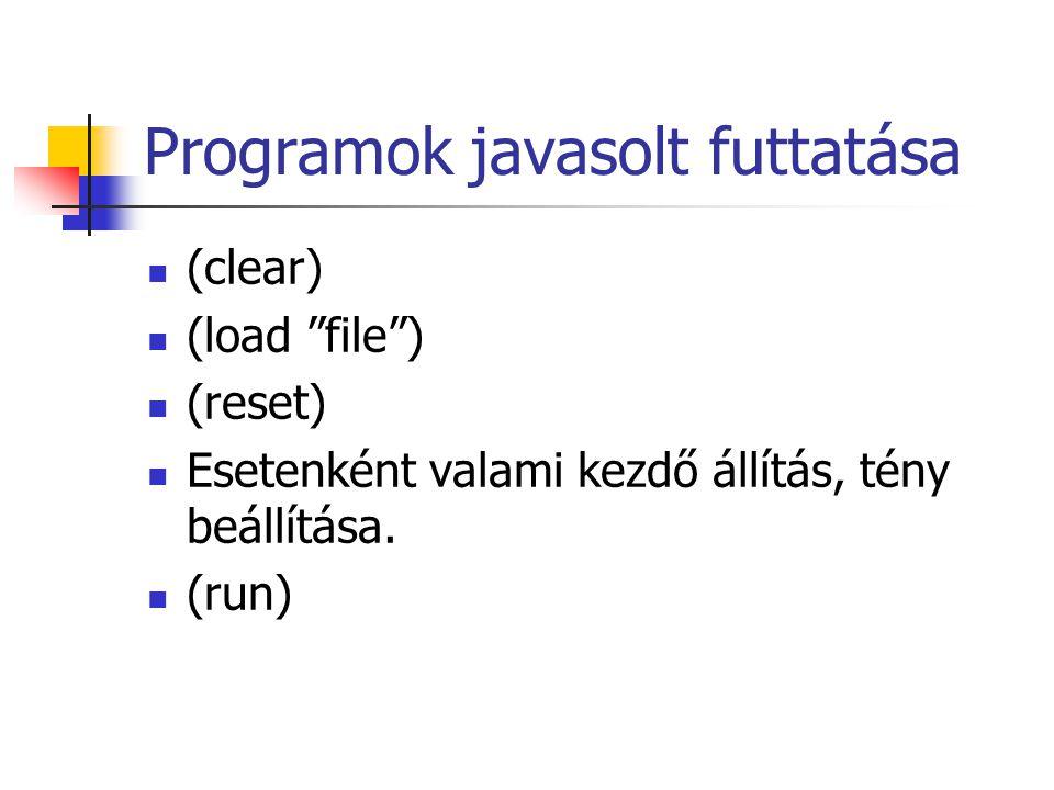 Programok javasolt futtatása (clear) (load file ) (reset) Esetenként valami kezdő állítás, tény beállítása.