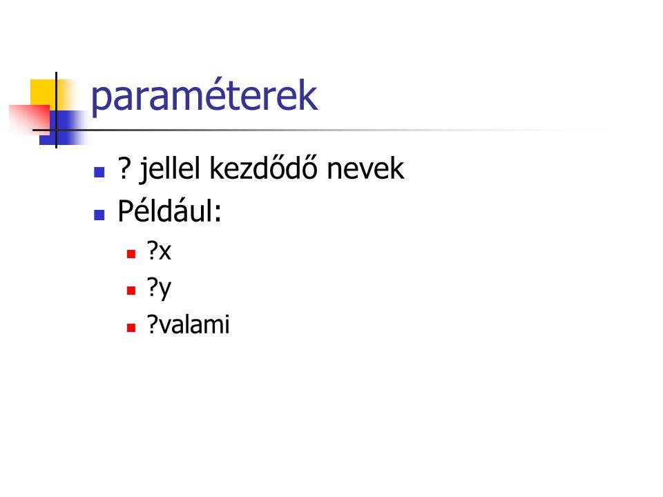 paraméterek ? jellel kezdődő nevek Például: ?x ?y ?valami