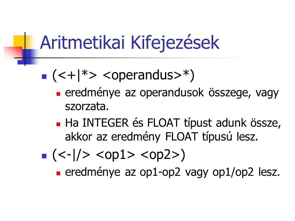 Aritmetikai Kifejezések ( *) eredménye az operandusok összege, vagy szorzata.