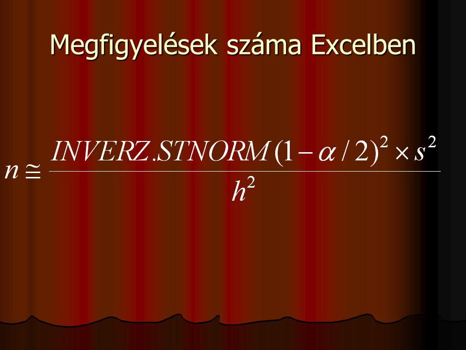 Megfigyelések száma Excelben