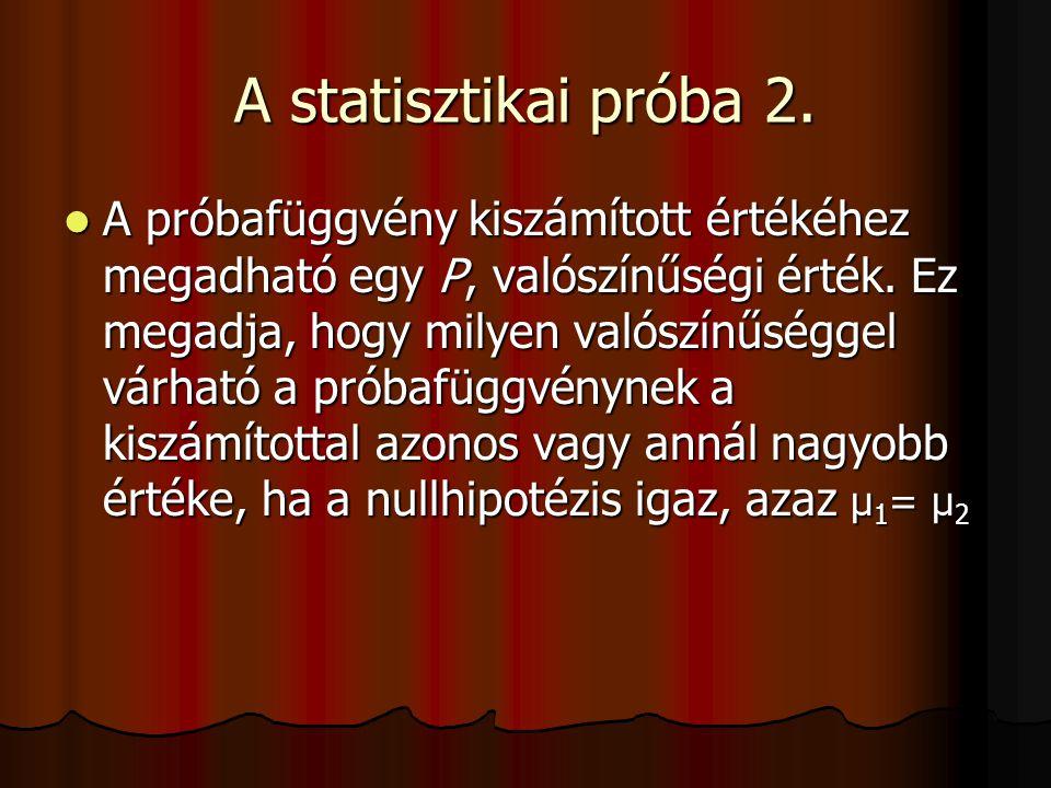 A statisztikai próba 2. A próbafüggvény kiszámított értékéhez megadható egy P, valószínűségi érték. Ez megadja, hogy milyen valószínűséggel várható a