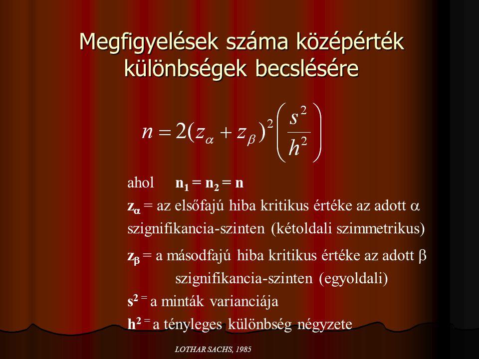 Megfigyelések száma középérték különbségek becslésére ahol n 1 = n 2 = n z  = az elsőfajú hiba kritikus értéke az adott  szignifikancia-szinten (két