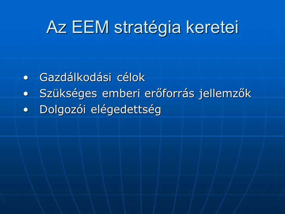 Az EEM stratégia keretei Gazdálkodási célokGazdálkodási célok Szükséges emberi erőforrás jellemzőkSzükséges emberi erőforrás jellemzők Dolgozói elégedettségDolgozói elégedettség