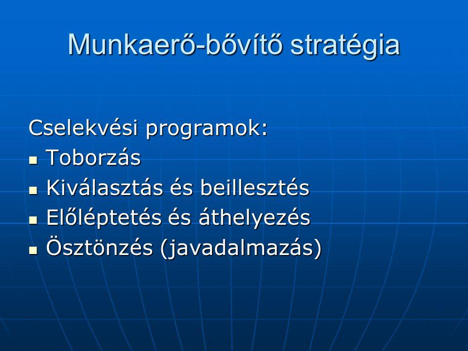 Munkaerő-bővítő stratégia Cselekvési programok: Toborzás Toborzás Kiválasztás és beillesztés Kiválasztás és beillesztés Előléptetés és áthelyezés Előléptetés és áthelyezés Ösztönzés (javadalmazás) Ösztönzés (javadalmazás)