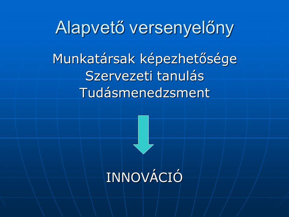 Alapvető versenyelőny Munkatársak képezhetősége Szervezeti tanulás TudásmenedzsmentINNOVÁCIÓ