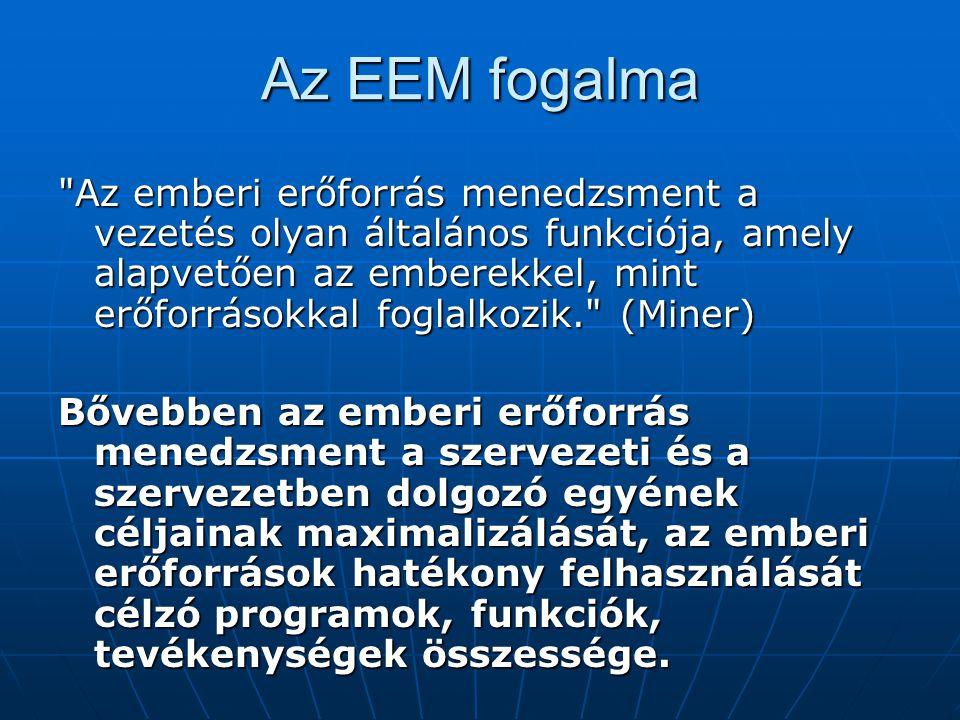 Az EEM fogalma Az emberi erőforrás menedzsment a vezetés olyan általános funkciója, amely alapvetően az emberekkel, mint erőforrásokkal foglalkozik. (Miner) Bővebben az emberi erőforrás menedzsment a szervezeti és a szervezetben dolgozó egyének céljainak maximalizálását, az emberi erőforrások hatékony felhasználását célzó programok, funkciók, tevékenységek összessége.