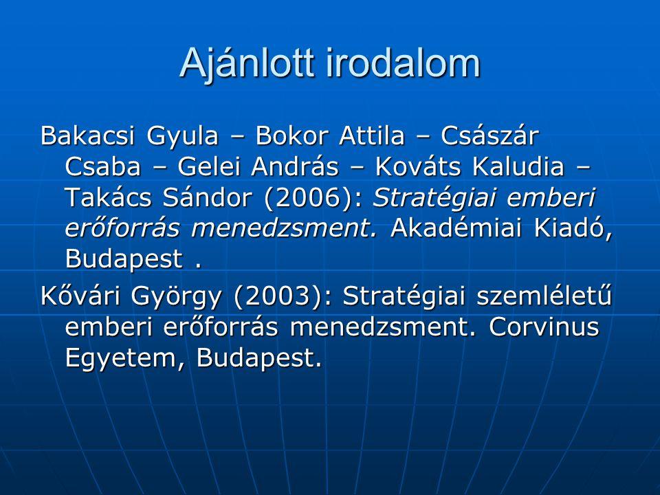 Ajánlott irodalom Bakacsi Gyula – Bokor Attila – Császár Csaba – Gelei András – Kováts Kaludia – Takács Sándor (2006): Stratégiai emberi erőforrás menedzsment.