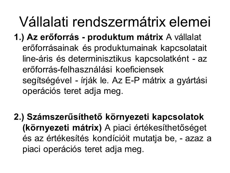 Vállalati rendszermátrix elemei 1.) Az erőforrás - produktum mátrix A vállalat erőforrásainak és produktumainak kapcsolatait line-áris és determinisztikus kapcsolatként - az erőforrás-felhasználási koeficiensek segítségével - írják le.