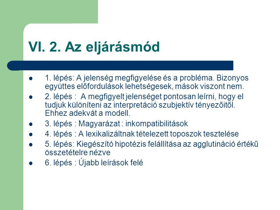 VI. 2. Az eljárásmód 1. lépés: A jelenség megfigyelése és a probléma. Bizonyos együttes előfordulások lehetségesek, mások viszont nem. 2. lépés : A me