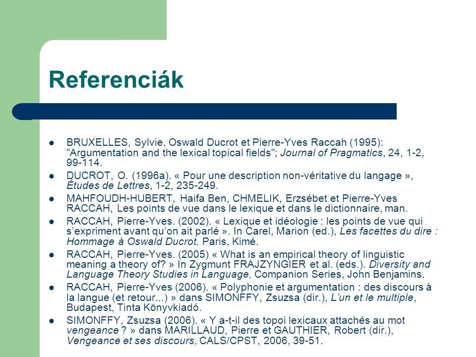Referenciák BRUXELLES, Sylvie, Oswald Ducrot et Pierre-Yves Raccah (1995):