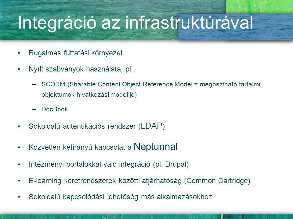 Integráció az infrastruktúrával Rugalmas futtatási környezet Nyílt szabványok használata, pl. –SCORM (Sharable Content Object Reference Model = megosz
