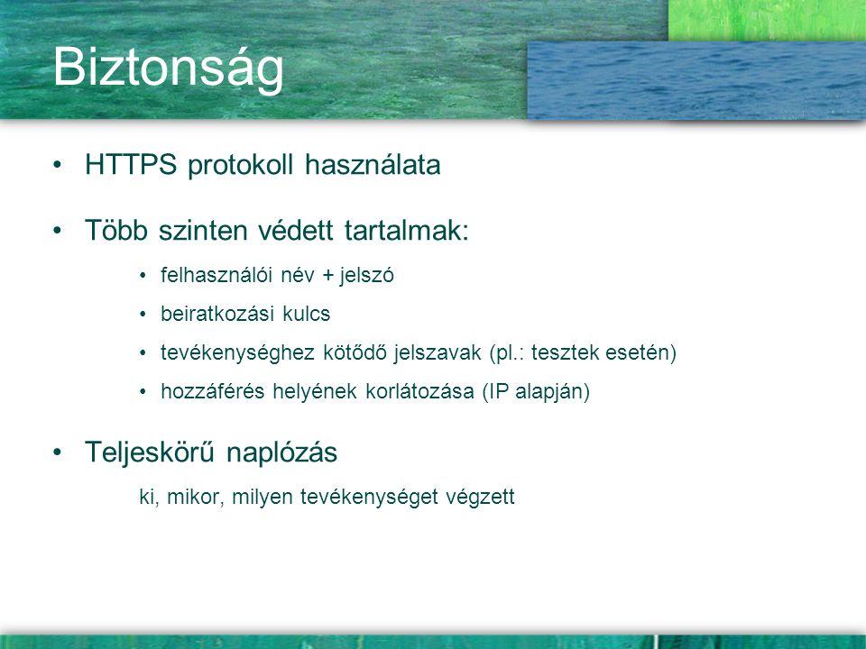 Biztonság HTTPS protokoll használata Több szinten védett tartalmak: felhasználói név + jelszó beiratkozási kulcs tevékenységhez kötődő jelszavak (pl.: