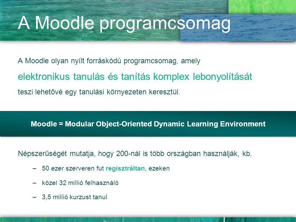 A Moodle programcsomag A Moodle olyan nyílt forráskódú programcsomag, amely elektronikus tanulás és tanítás komplex lebonyolítását teszi lehetővé egy