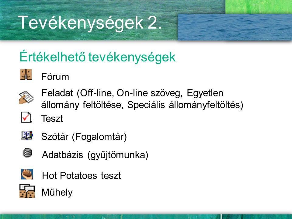 Tevékenységek 2. Értékelhető tevékenységek Fórum Teszt Feladat (Off-line, On-line szöveg, Egyetlen állomány feltöltése, Speciális állományfeltöltés) S